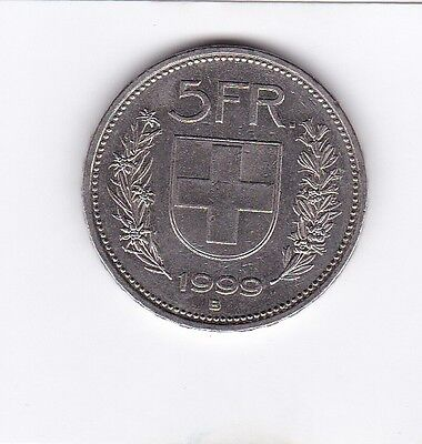 cl 3) pieces suisse de 5 franc de 1999
