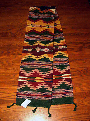 "Table Runner Handwoven Wool 10x80"" Southwestern Native American Design #29"