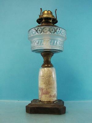 Antique Victorian Era Oil Lamp Bronze & Glass Brass Burner Art Nouveau Ornate