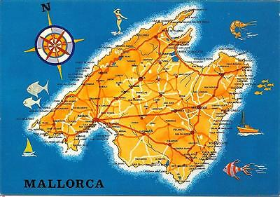 Mallorca - Map (2)- Unposted Postcard