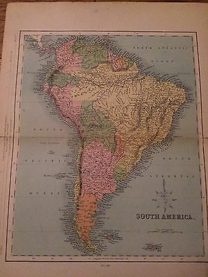 Vintage Map Of South America / Used / House Find / Great Condition