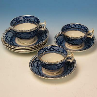 Booths England China - Blue Jacobean - 3 Cups and 6 Saucers - 2 sizes