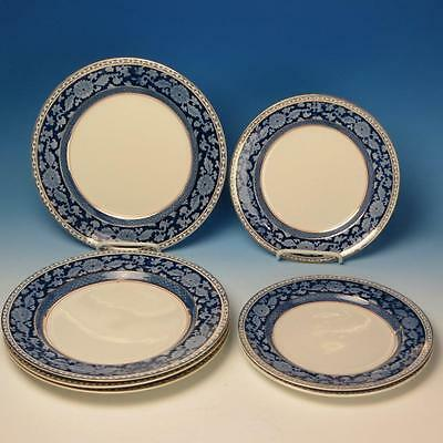 Booths England China - Blue Jacobean - 4 Dinner Plates, 3 Luncheon Plates