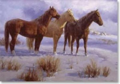 Xmas Cards THREE HORSES Holiday Cards  10 per box