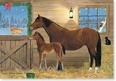 Xmas Cards BAY MARE & FOAL in Stall Horse Holiday Cards 10 per box