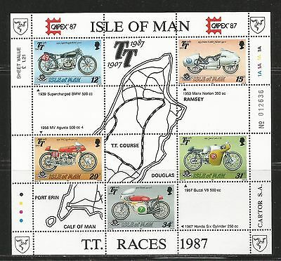 Isle of Man 1987 Tourist Trophy 80th ss--Attractive Sports Topical (339a) MNH