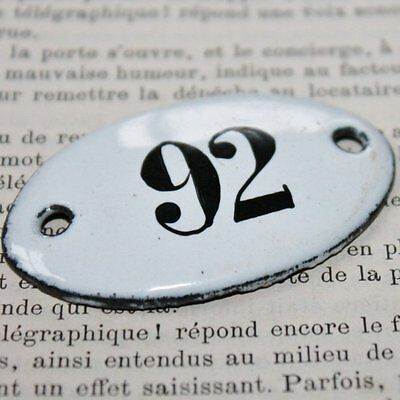 Vintage French Apothecary Porcelain Enamel Number Sign 92