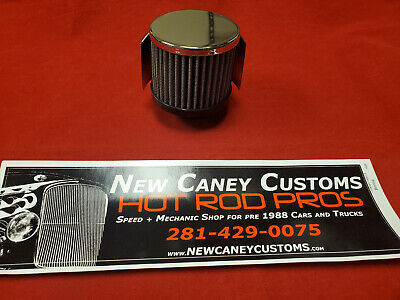 """R2C BF10800S VALVE COVER ENGINE BREATHER FILTER Clamp-On 1.38/"""" Chrome W//Shield"""