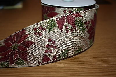 NATURAL HESSIAN BURLAP WIRED RIBBON RED POINSETTIA GOLD GLITTER 60mm x 10 metres