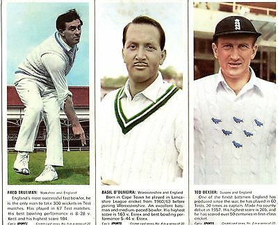 1967 Cricket: Carrs Sports Trade Cards X 3 NUMBERS 2 4 5