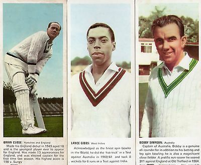 1967 Cricket: Carrs Sports Trade Cards X 3 NUMBERS 1 12 17