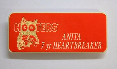 Anita 7 Yr Heartbreaker - Hooters Restaurant Orange Name Tag ( Pin & Magnent )