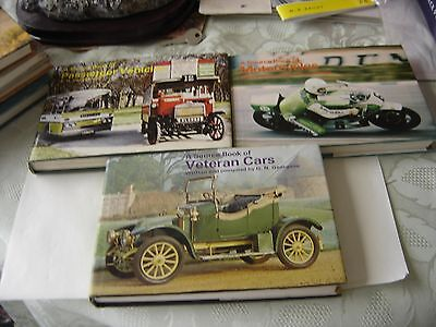 3 Source Books  Passenger Vehicles-Veteran Cars-Motorcycles All  Dust Wrappers.