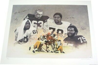 Steel Curtain Autographed Steelers 21x27 Lithograph w/ JSA COA