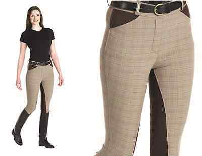 NEW ** CALDENE OAKDALE ** LADIES SIZE 12/28r BROWN CHECK BREECHES