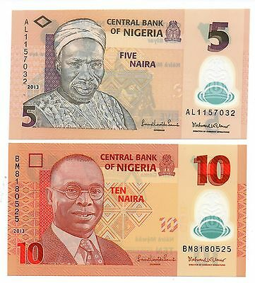 NIGERIA 5 and 10 Naira [2013]  - A Set of 2 Crisp UNC Polymer Banknotes