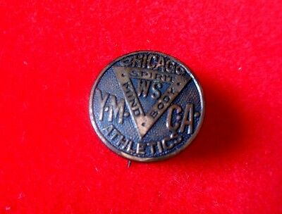 """Vintage Chicago WS YMCA Athletic pin, open C Clasp11/16"""" d, Chicago manufacturer"""