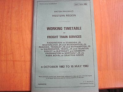 Br Wr Working Timetable Freight  Paddington Reading Swindon Oxford 1982 Sect Pd
