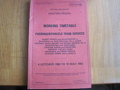 Br Wr Working Timetable Pass Barnt Green Cardiff Swansea Fishguard 1982 Sect Pb