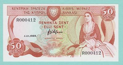 Cyprus 50 Cents Banknote 1-11-1989 Low Serial Number