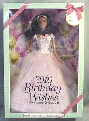 Mattel 2016 Pink Label Birthday Wishes Barbie Doll African American NIB NRFB