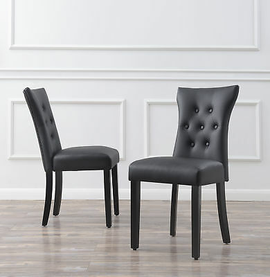 Set of (2) Modern Dining Chair Faux Leather Nailhead Upholstered Black/White