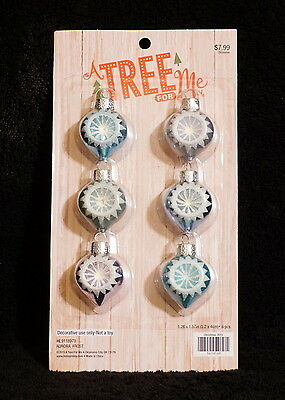 Miniature Feather Tree Pastel Pink & Blue Indent Christmas Ball Ornaments - NIP