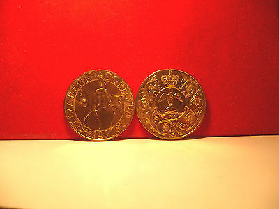 24ct gold finished 1952-1977 H.M.Queen Elizabeth II Silver Jubilee Crown coin