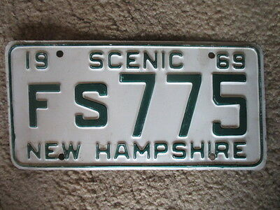 """1969 Embossed New Hampshire """"Scenic"""" License Plate - Free Shipping - White Mtns"""