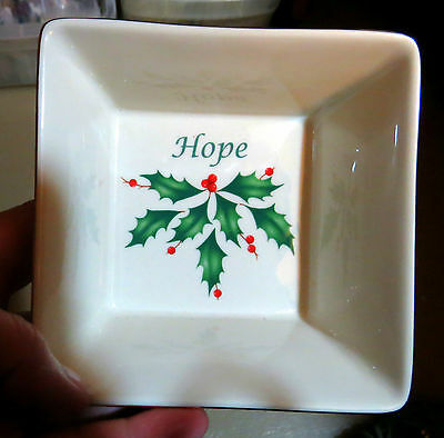 Lenox Holiday Square Hope Dish Christmas Holly Berry W Gold Trim Nut Candy Bowl