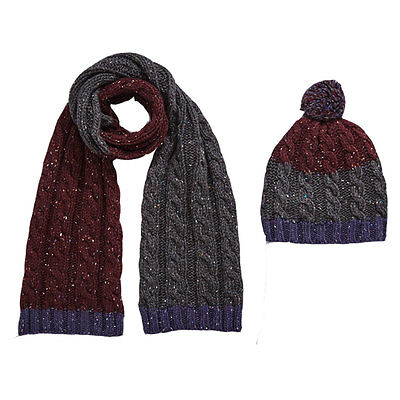 Boys Two Piece Chunky Knit Hat And Scarf Set In Navy / Mulberry Size 8-14 Years