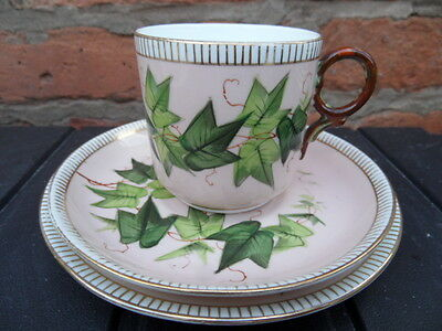 TRIO Teacup Set China   Pretty Pink with Green Ivy Design   VINTAGE Good Cond  1