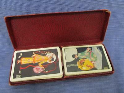 Double Deck Vintage RETRO Oriental Playing Cards in Box Complete