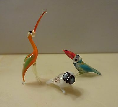 "3 BIRDS miniature handmade figurine RUSSIAN GLASS only 3/4"" - 1-1/2"" TINY!"