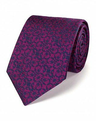 NEW Charles Tyrwhitt Men's 100% Silk Luxury Floral Print Classic Tie Pink Smart