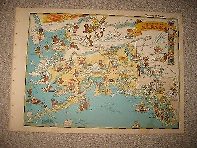 Antique '35 Alaska Our Usa A Gay Geography Cartoon Pictorial Map Race Stereotype