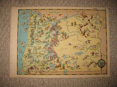 Antique 1935 Oregon Our Usa A Gay Geography Cartoon Pictorial Map Stereotype Nr