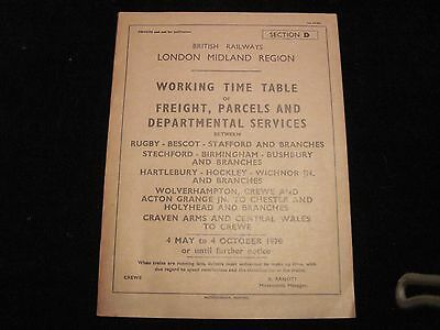 Br Lmr Working Timetable Freight Rugby Bescot Stafford Bham Salop 1970 Sect D