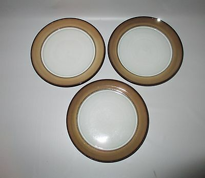 "Denby Country Cuisine 3 Salad Plates 7 7/8"" Brown Tan 1980s England Stoneware"