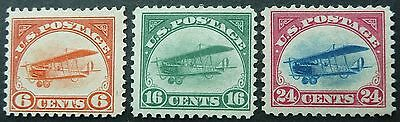 Usa 1918 Curtis Jenny Airmail Stamp Set - Mlh - See!