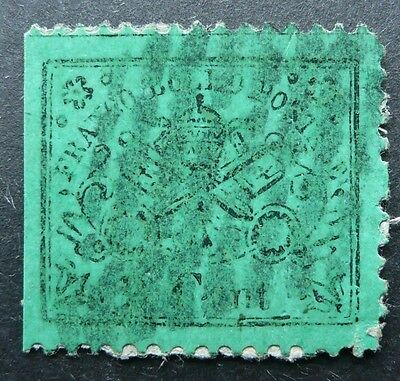 PAPAL STATES ITALY 1868 COAT OF ARMS 5c PERF STAMP - USED - SEE!