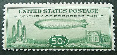 USA 1933 ZEPPELIN AIRMAIL 50c GREEN STAMP - FRESH MLH - SEE!