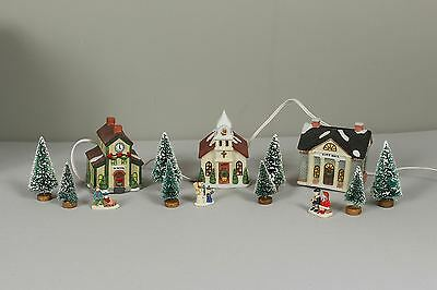 Christmas Winter Valley Cottages 3 Lighted Houses School Church City Hall 15 Pcs