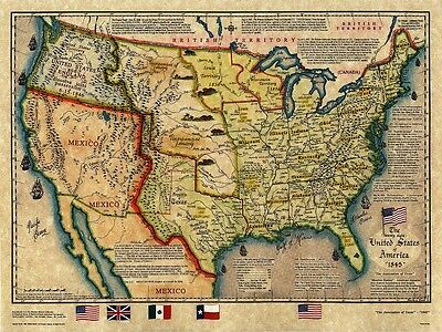 1845 United States and Republic of Texas Historical Map