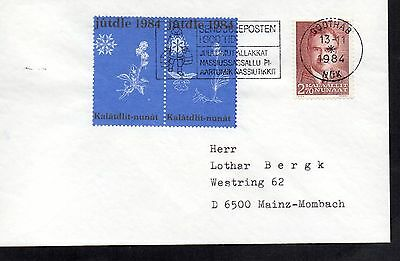 Greenland 1984 Cover With 2 Tied Christmas Seals And Slogan Postmark