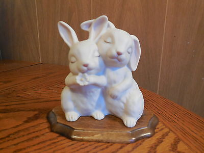 Bunny Love Ceramic Figurine with Wooden Base