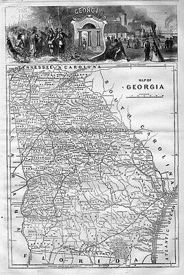 Map Of Georgia 1866 South Carolina Florida Alabama Railroad Riverboats Steamers