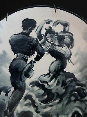 VINTAGE RETRO 50s SPANISH FLAMENCO DANCER HAND PAINTED SIGNED DISPLAY PLATE