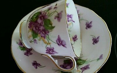 VINTAGE RETRO 40s BEAUTIFUL VIOLETS DESIGN DEMITASSE COFFEE CUP