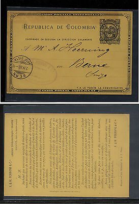 Colombia postal  card to Switzerland from stamp dealer  1892       EX0327